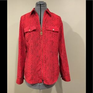 S Michael Kors Zippered Blouse Red Snakeskin